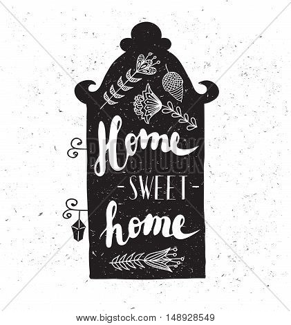 House with phrase home sweet home. Lettering. Black and white illustration.