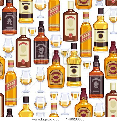 Whisky bottles and glasses background. Strong alcohol vector illustration. Seamless pattern. Drink bar party menu design.