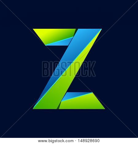 Z letter line colorful logo. Abstract trendy green and blue vector design template elements for your application or corporate identity.