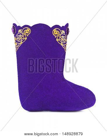 Felt boots with ornament isolated on white background