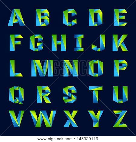 Fun english alphabet line colorful letters set. Font style vector design template elements for your application or company.