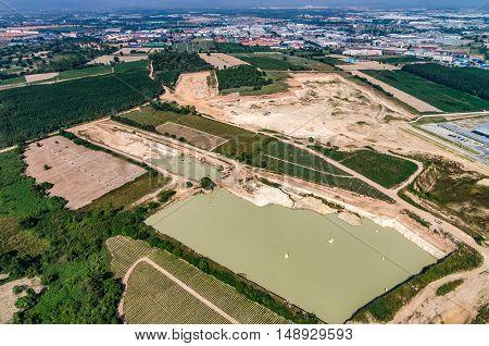 Farm land and industrial estate development Aerial photo