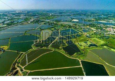Aerial photo farmland rice fields under the water in Thailand