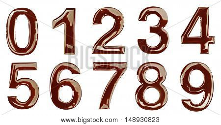 Chocolate numbers on white background