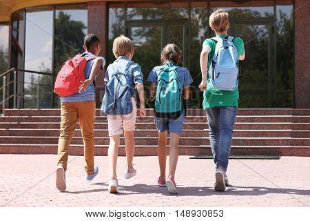 Cute kids going to school