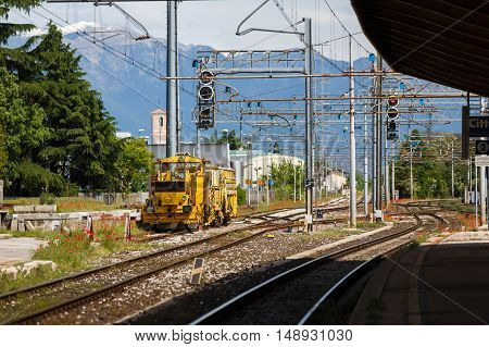 Cittadella Italy - May 05 2016: The freight train on the siding in the little italian town
