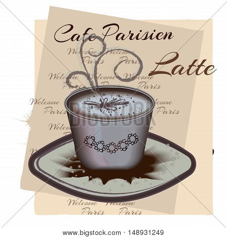 Spiced latte or coffee in cup on vintage table. Autumn winter hot drink.