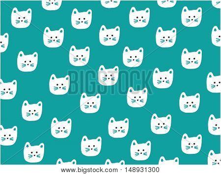 Cat face pattern for decoration, vector illustration