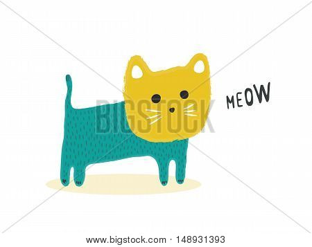 Isolated cute Cat meowing, vector illustration for decoration