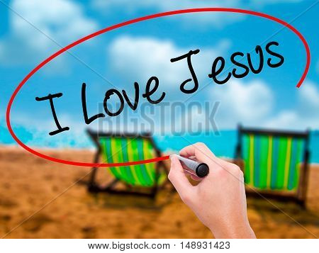 Man Hand Writing I Love Jesus With Black Marker On Visual Screen