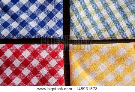 Colored Checkered Tablecloths Overhead View