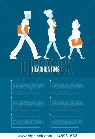 Active business people hold folders with documents. Headhunting banner, vector illustration on blue background. Human resource. Headhunting objectives and recruitment strategy. Teamwork concept