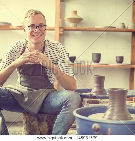 Craftsman Clay Pottery Creativity Concept