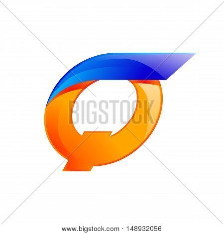 Q letter blue and Orange logo design Fast speed design template elements for application.