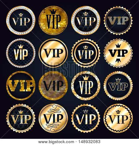 VIP premium golden badges set. Black and golden design template. Quilted pattern decorative background with gold ribbon, crown and diamonds.
