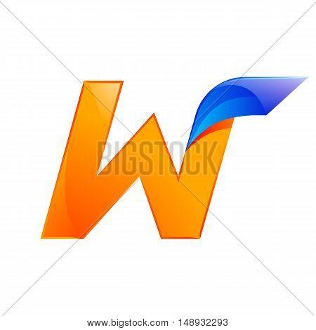 W letter blue and Orange logo design Fast speed design template elements for application.