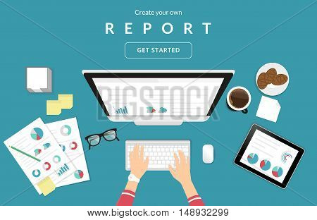 Human hands typing on the computer keyboard financial report using papers with diagrams and tablet pc for analysis and audit. Business illustration of working process on blue background