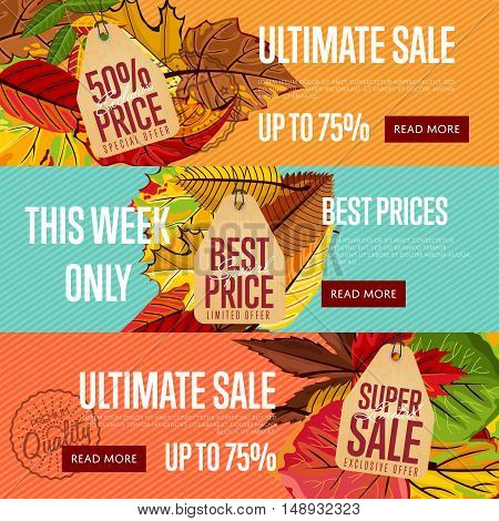 Autumn seasonal sale website templates, vector illustration. Ultimate sale this week only. Best price posters on color background with autumn leaves. Autumnal discount horizontal flyers