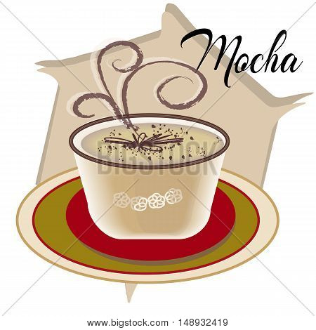 Mocha coffee also called Caffe Mocha with wooden saucer on white table. Interior coffee shop. Cartoon style, smoke