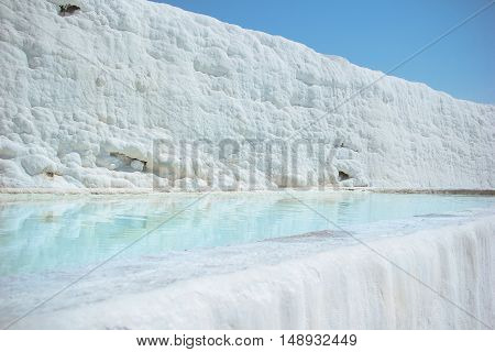 The natural attraction of Pamukkale in Turkey. UNESCO World Heritage Site. Travertine and pools
