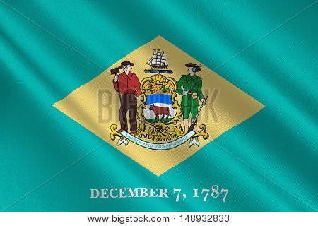 Flag of Delaware states of United States. 3D illustration