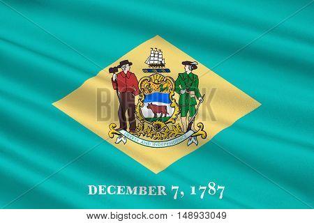Flag of Delaware states of United States. 3D illustration