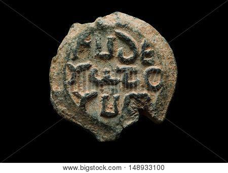 Antique Post Seal Made Of Lead With Greek Letters On It