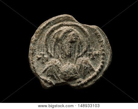 Post Seal Af Ancient Times With Saint Image On It