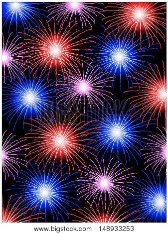 Vector fireworks - illustration, shiny pattern - blue, red, pink