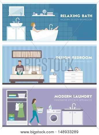 Domestic lifestyle and room interiors banners set with people: bathroom bedroom and laundry room