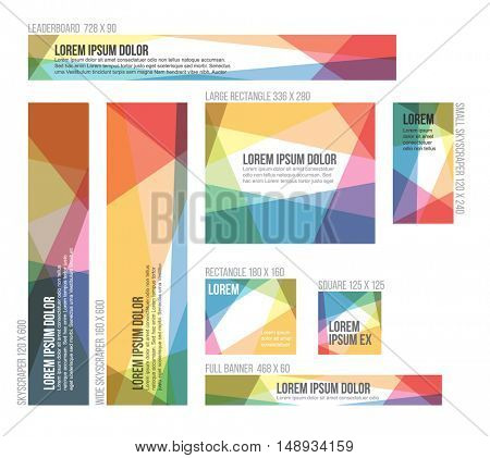 8 Standard size banner templates with colorful polygonal abstract background