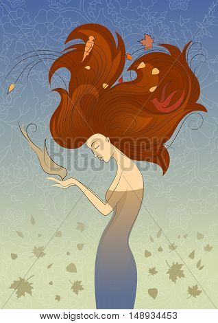 Autumn Style Fantasy Outline Sketch of Young Woman with Long Red Curly Hair Feeding the Bird from Hands, Surrounded by Birds and Maple Leaves on Blue Background.