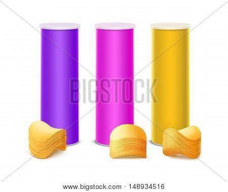Vector Set of Colored Purple Pink Yellow Tin Box Container Tube for Package Design with Stack of Potato Crispy Chips Close up Isolated on White Background.