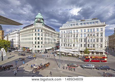 Vienna, Austria - August 14, 2016: View Over Albertinaplatz, Busy Street In Vienna Downtown.