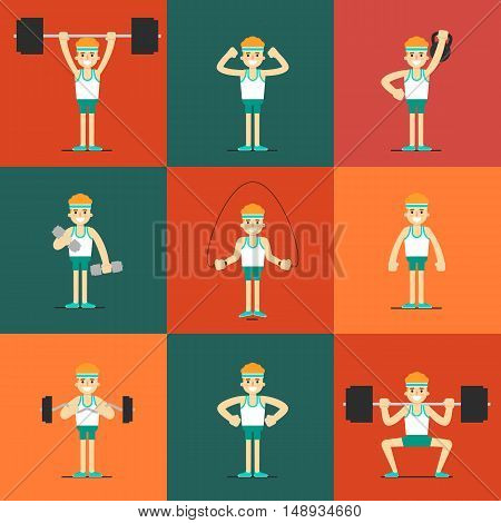 Athletic young man with barbell, dumbbells, weight and skipping rope doing exercises, vector illustration set in flat style. Healthy lifestyle. Fitness people. Workout and gymnastics icons.