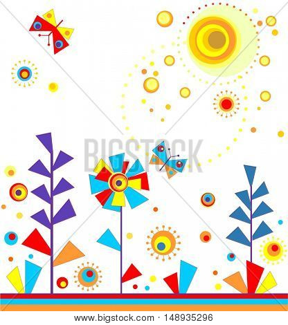 Paper seamless applique with abstract lavender, butterfly and sun
