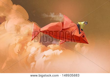 girl riding on the origami paper red fish in the clouds, illustration painting