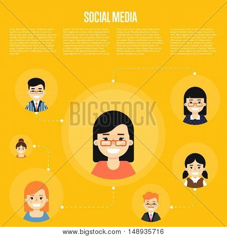 Smiling cartoon girl with own successful social network. Social media banner on yellow background, vector illustration. Connecting people. Teamwork concept. Concept of the coworking center.