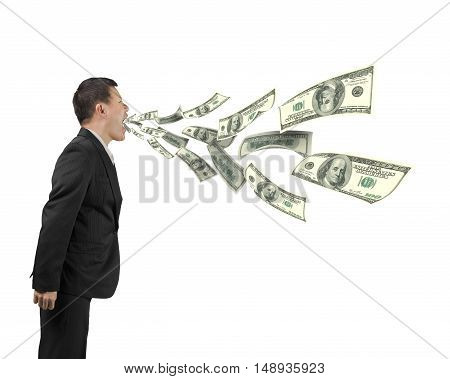 Man's Mouth Spraying Out Dollar Bills