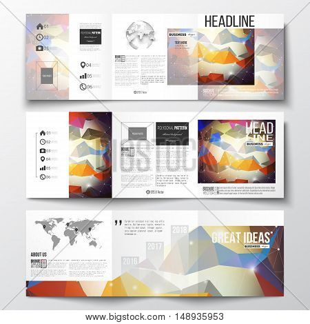 Vector set of tri-fold brochures, square design templates with element of world map and globe. Molecular construction with connected lines and dots, scientific pattern on abstract colorful polygonal background, modern stylish triangle vector texture.