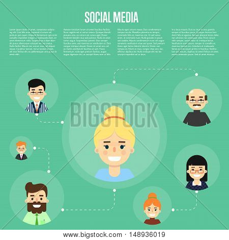 Social networking concept. Social media and social network people connecting. Social media network infographics with people and their social network. Community of social network people vector illustration. Social media people. Social network map. Teamwork
