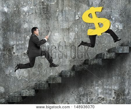 Man Running After Dollar Money Symbol