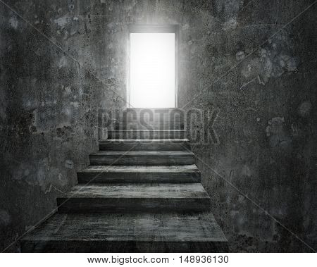 Open Door With Bright Light And Old Dirty Concrete Stairs