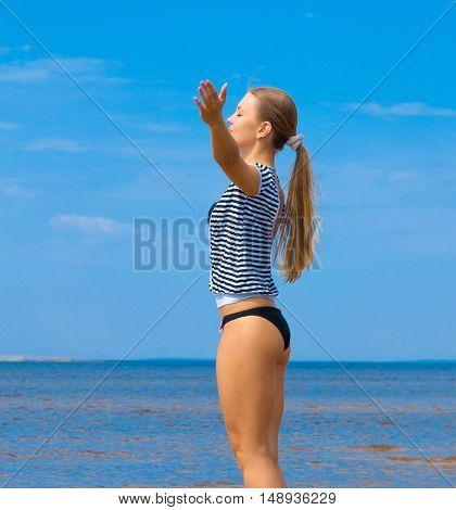Woman Exercising Beach