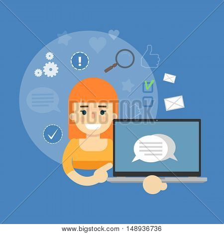 Smiling cartoon girl holding laptop with speech bubbles on screen. Social media banner on blue background with communication icons, vector illustration. Media sharing, virtual marketing