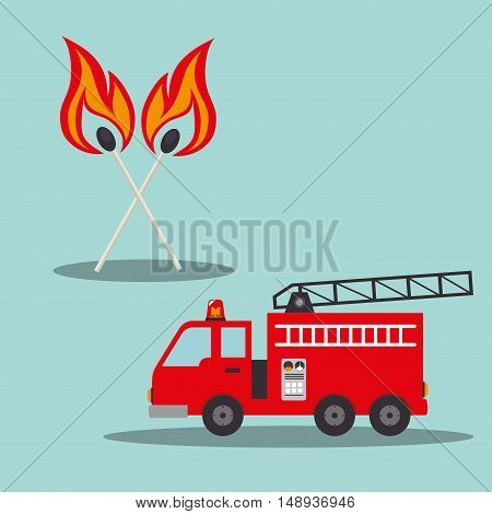 fire truck emergency vehicle rescue service and matchsticks on fire. vector illustration