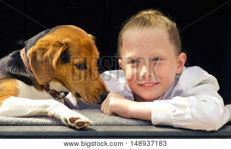 Happy Smilling Little Girl And Beagle Puppy