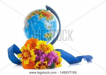 bouquet of autumn flowers with a globe on a white background