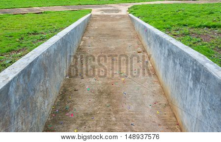 Empty Bicycle Lane Make With Concrete.