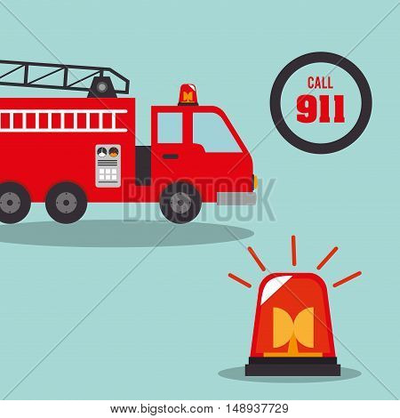 fire truck  vehicle rescue service emergency siren device. vector illustration